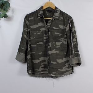 Express embellished sleeve camo button down top